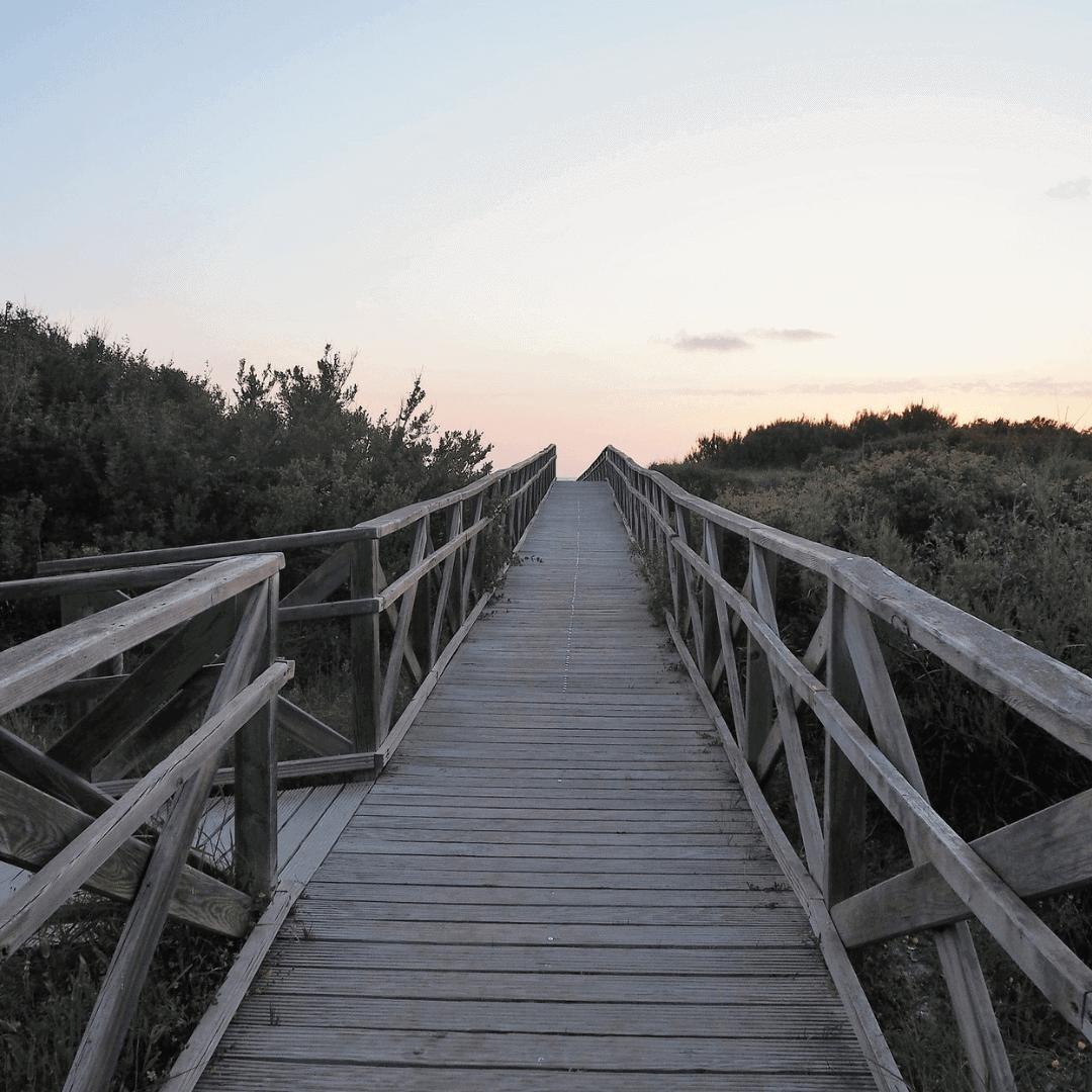 Wooden bridge over the wetlands next to Playa de Muro